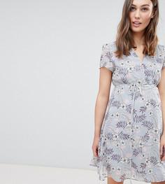 Платье мини с цветочным принтом, запахом и поясом Glamorous Bloom - Синий