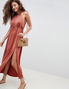 Платье макси с глубоким вырезом ASOS DESIGN - Коричневый