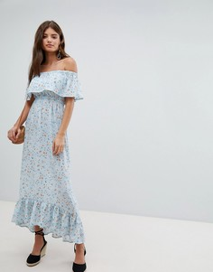 Платье макси со спущенными плечами и цветочным принтом Missguided - Синий