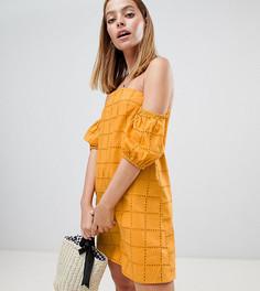 Летнее платье мини с вышивкой ASOS DESIGN Petite - Желтый