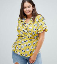 Блузка с запахом, оборками и цветочным принтом Glamorous Curve - Желтый