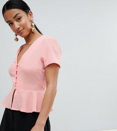 Блузка с баской и пуговицами Missguided Petite - Розовый