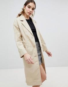 Легкое пальто с пуговицами Monki - Бежевый