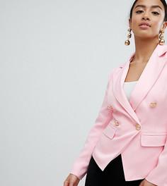 Блейзер с золотистыми пуговицами Missguided Petite - Розовый