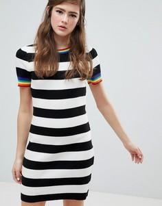 Платье мини в полоску с радужной отделкой ASOS DESIGN - Мульти