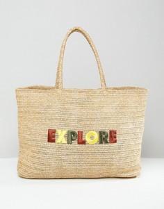 Соломенная сумка с логотипом Tommy Hilfiger - Бежевый