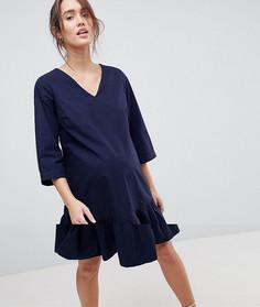 Платье с оборкой по нижнему краю Mamalicious - Темно-синий Mama.Licious