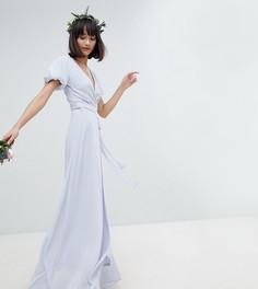 Платье макси с запахом, поясом на завязке и пышными рукавами TFNC - Серый