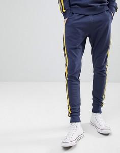 Джоггеры с полосками в спортивном стиле Only & Sons - Темно-синий