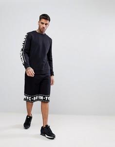 Спортивный оверсайз-свитшот и баскетбольные шорты с принтом ASOS - Черный