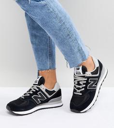 Черные замшевые кроссовки New Balance 574 - Черный