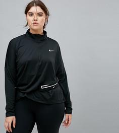 Черный топ на молнии Nike Plus Running Dry Element - Черный
