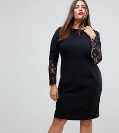 Платье-футляр с кружевом на рукавах Paper Dolls Plus - Черный