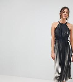 Плиссированное платье миди с высоким воротом Little Mistress Tall - Черный