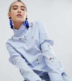 Блузка в полоску с высоким воротом и вышивкой Boohoo - Синий