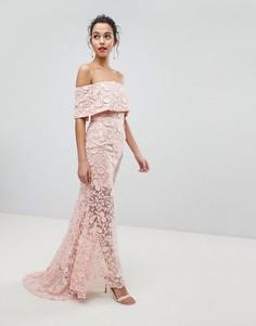 Платье макси с широким вырезом и вышивкой Jarlo - Розовый