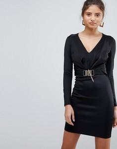 Платье с V-образным вырезом, длинными рукавами и цепочкой Lipsy - Черный