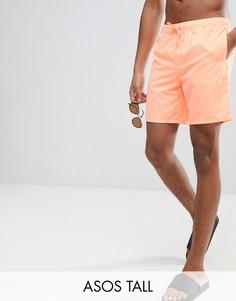 Оранжевые шорты для плавания средней длины ASOS TALL - Оранжевый