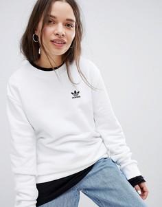 Белый свитшот с логотипом-трилистником adidas Originals - Белый