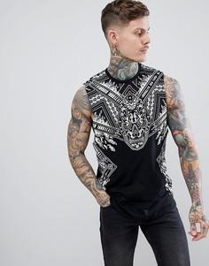 Удлиненная футболка без рукавов с принтом пейсли и заниженными проймами ASOS DESIGN - Черный