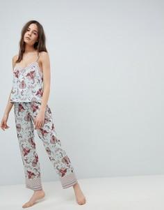 Атласные пижамные брюки с принтом New Look - Синий