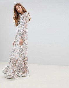 Платье макси с цветочным принтом и оборками Glamorous - Кремовый