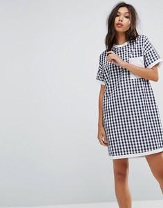 Платье-футболка в клетку Uncivilised - Темно-синий