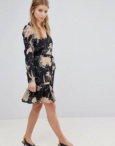 Короткое приталенное платье с цветочным принтом и поясом Parisian - Черный