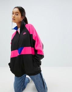 Черная оversize-куртка колор блок с короткой молнией Nike Vaporwave - Черный