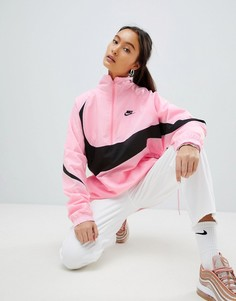 Розовая оversize-куртка с короткой молнией и крупным логотипом-галочкой Nike Vapourwave - Розовый