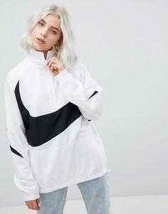 Белая оversize-куртка с короткой молнией и крупным логотипом-галочкой Nike Vapourwave - Белый