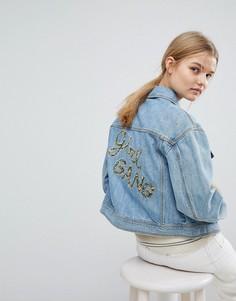 Джинсовая куртка с надписью Girl Gang Max&Co - Синий