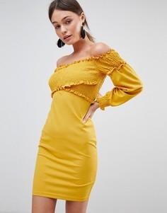 Платье с открытыми плечами и драпировкой Parisian - Желтый