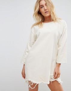 Джинсовое платье с необработанным краем Waven Eira - Кремовый