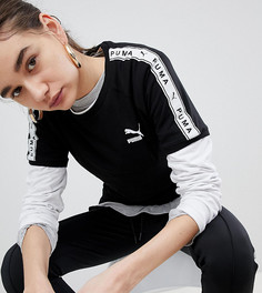 Черная футболка с лентой на рукавах Puma эксклюзивно для ASOS - Черный