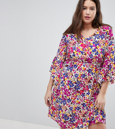 Платье с цветочным принтом и рукавами-колокол Lovedrobe - Мульти
