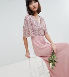 Платье макси с отделкой пайетками на лифе Maya - Розовый
