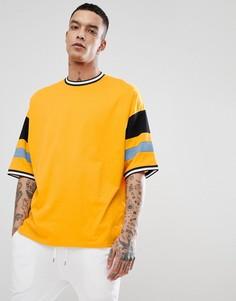 Желтая оверсайз-футболка с отделкой в стиле колор блок ASOS DESIGN - Желтый