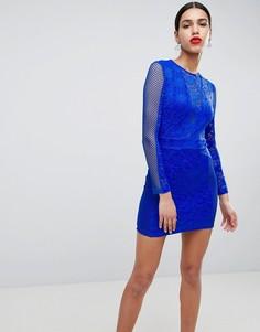 Кружевное облегающее платье AX Paris - Синий