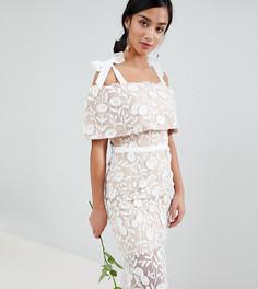 Платье макси с вышивкой и завязками на плечах Jarlo Petite - Белый