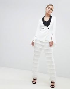 Суженные брюки с бахромой Lavish Alice - Белый