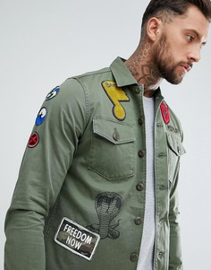 Куртка-рубашка с нашивками Replay - Зеленый