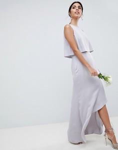 Платье макси с кроп-топом и отделкой искусственным жемчугом ASOS DESIGN - Розовый