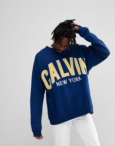 Свитшот с аппликацией логотипа Calvin Klein Jeans - Синий