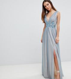 Платье макси из тюля с вышивкой Little Mistress Petite - Синий