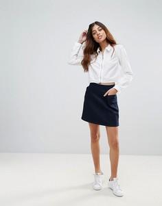 Джинсовая юбка-трапеция с карманами Waven Ina - Темно-синий