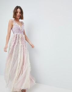 Декорированное платье макси с оборками Ellesse Heritage - Мульти Needle & Thread
