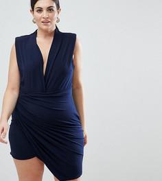Платье мини без рукавов с запахом John Zack Plus - Темно-синий