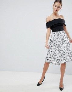Короткое приталенное платье 2-в-1 с принтом Vesper - Мульти