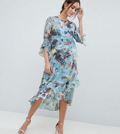Короткое приталенное платье с цветочным принтом Little Mistress Maternity - Мульти